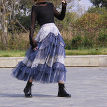 Gray Tiered Tulle Skirt Outfit High Waisted Full Plus Size Layered Tulle Skirts  image 2