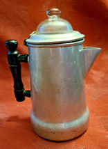 "Antique 1920'S Viko Aluminum Coffee Pot W/ Wooden Handle 6"" Tall image 3"