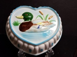 Vtg Hand Painted Mallard Duck Heart Shape Decorative Jello Mold Made in ... - $13.86