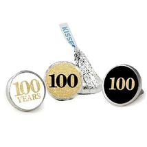 100th Birthday Favor Stickers, Kisses Candy Stickers, Gold Glitter, 324 Total La - $13.37