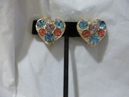 Designer Signed Pat. 2733491 Heart Pastel Rhinestone Clip On Earrings - $79.19
