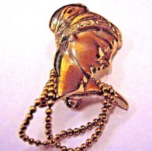 BROOCH gold color lady's head has two tiny chain  BROOCH - $10.39