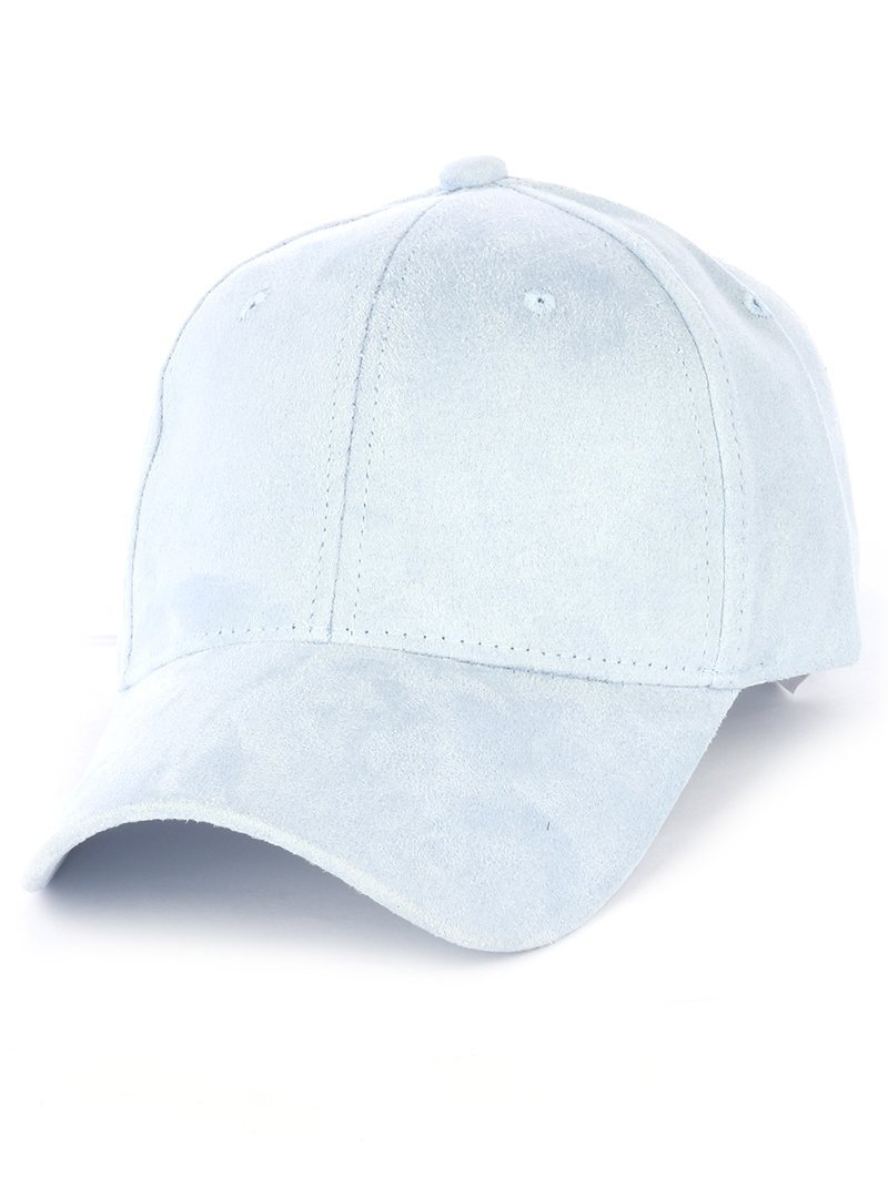 Solid Colored Baseball Cap Hat - Faux Suede (Blue)