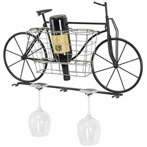 Bicycle Wall Mounted Wine Rack: Wine Bottle Holder & Wine Glass Holder /... - $70.38