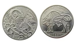 Hobo Nickel Dragon Sea Monster Viking Ship Cosmic Star Buffalo Nickle Coin - $10.44