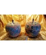 Pair of Vintage 1970's Rose Pink Blue Glazed Porcelain Oriental Mantel Urns - $54.45