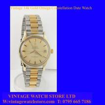 Vintage 14k Gold Retro Omega PiePan Dial Constellation Date Uhr Wrist Wa... - $1,395.00