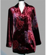 Coldwater Creek Burgundy Wine & Gold Paisley Velvet Jacket Wms 8 NWT MSR... - $64.99