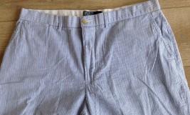 Polo Ralph Lauren Men's 38 Blue White Stripe Seersucker Shorts Cotton Fl... - $39.59
