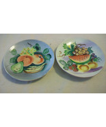 VINTAGE PAIR OF UCAGCO CHINA HAND PAINTED FRUIT PLATES - $29.70