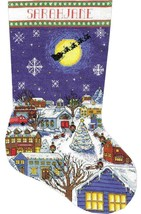Design Works Christmas Eve Village Santa Sleigh Cross Stitch Stocking Ki... - $29.95