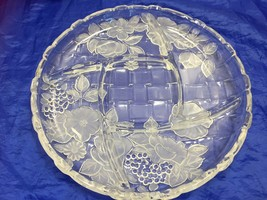Frosted Floral Serving Platter Divided Appetizer Heavy 12 Inch 22175 - $46.52