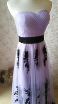LIGHT PURPLE Strapless Sweetheart Neck High Waist Embroidery Maxi Wedding Dress  image 3