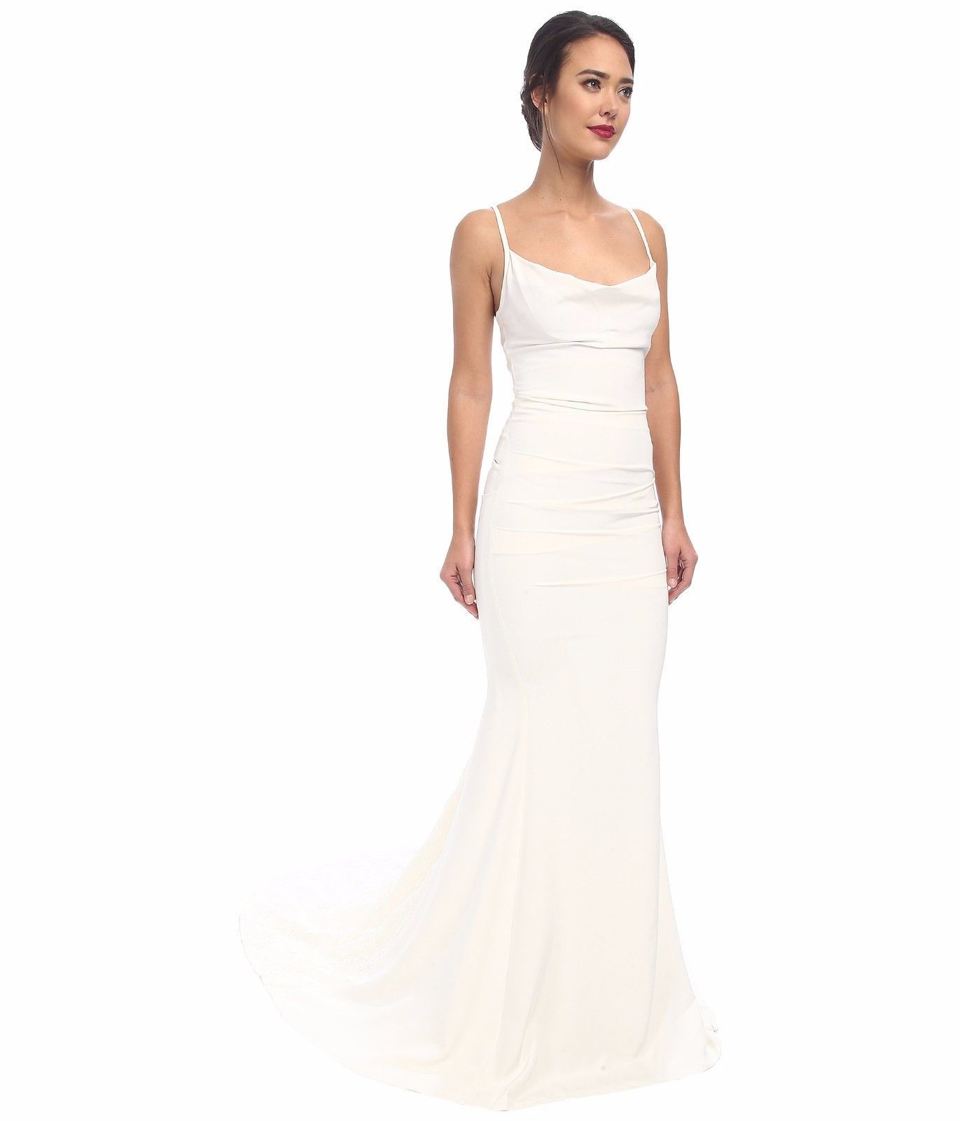 Nicole Miller Hampton Lace Back Antique White Wedding Dress Sleeveless Gown Sz 0