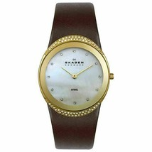 Skagen Women's 452LGLD Crystal Accented Brown Mother of Pearl Dial Leath... - $68.59