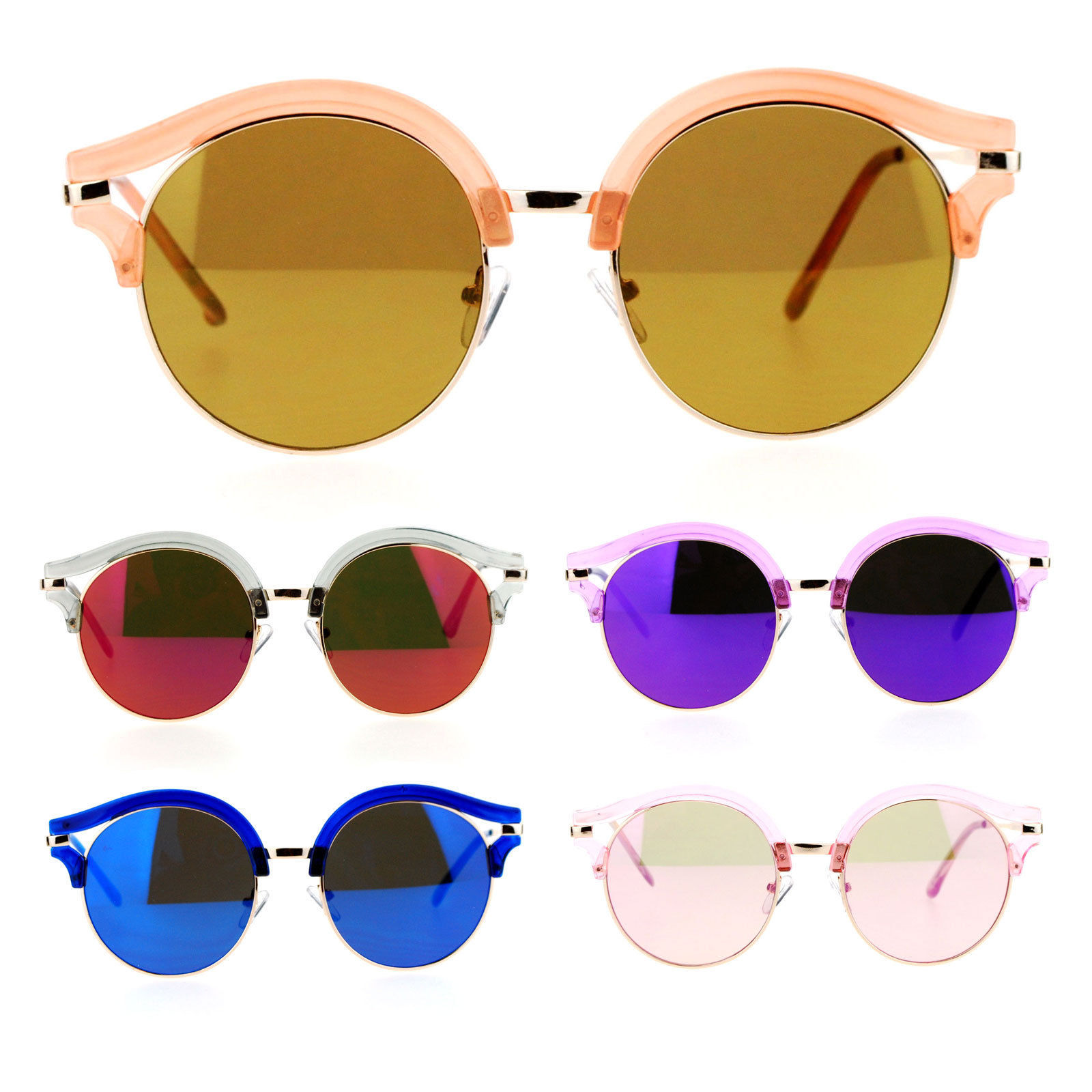 0508edd257a S l1600. S l1600. SA106 Retro Color Mirror Lens Round Circle Half Rim  Womens Sunglasses · SA106 Retro Color ...