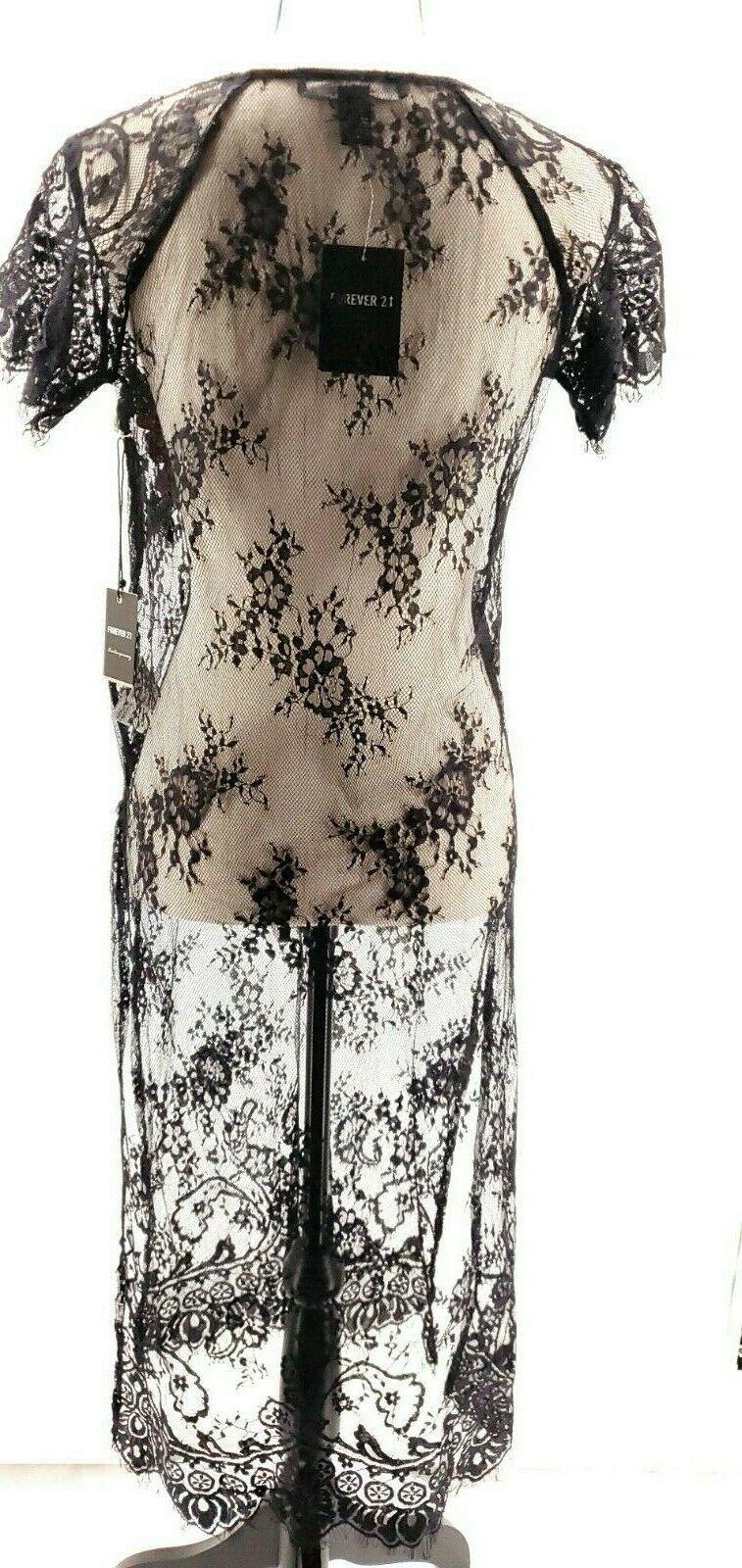 Forever 21 Black Contemporary Sheer Lace Dress/Cover Medium M