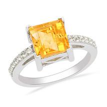 Princess Cut Shiney Citrine Gemstone 925 Sterling Silver Ring Sz 7 SHRI0159 - £16.09 GBP