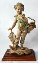Vintage Capodimonte Style Italian Plastic Hand Painted Statue Boy w/ Mus... - $75.99