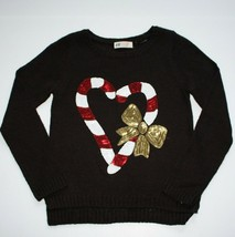 H & M Girls Black Candy Cane Hart Sweater size 8 9 10 - $15.99