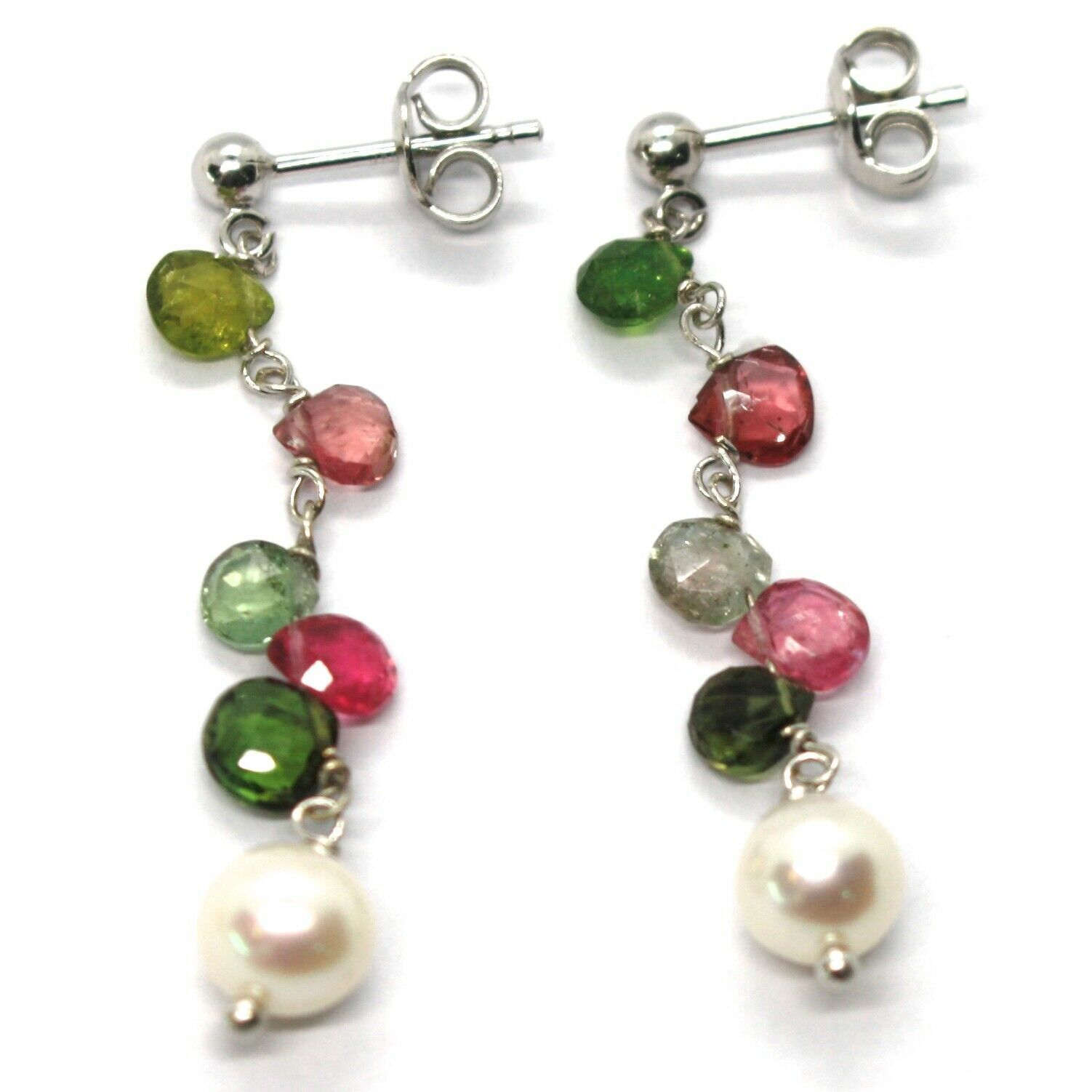 18K WHITE GOLD PENDANT EARRINGS, PEARL, GREEN AND RED DROP TOURMALINE 1.7 INCHES