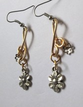 Flower gold color wire design dangle earrings - $13.00