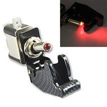 12V 20A Car Truck Carbon Fiber Red LED Toggle Switch Light Racing SPST Sales - $2.97