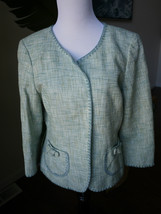 ann taylor green sz 10 cotton linen tweed jacket round neck bow - $18.99