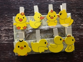 32pieces Yellow Duck Wood Clips,Pegs,Pin Clothespins,Children's Birthday... - $7.20