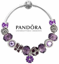 Authentic Pandora 925 Silver Bangle Bracelet with charms Purple Butterfl... - $84.14