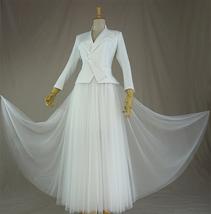 Women's White Suit Jacket White Asymmetrical Collar Boho Wedding Bridal Outfits image 3