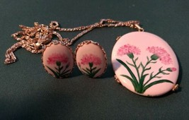 1970's Pink Carnation Pin with Clip on Earrings - $10.00