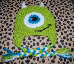 Monsters Inc Disney Pixar Movie Hat Crochet Toddler Green One Eye Monste... - $14.80