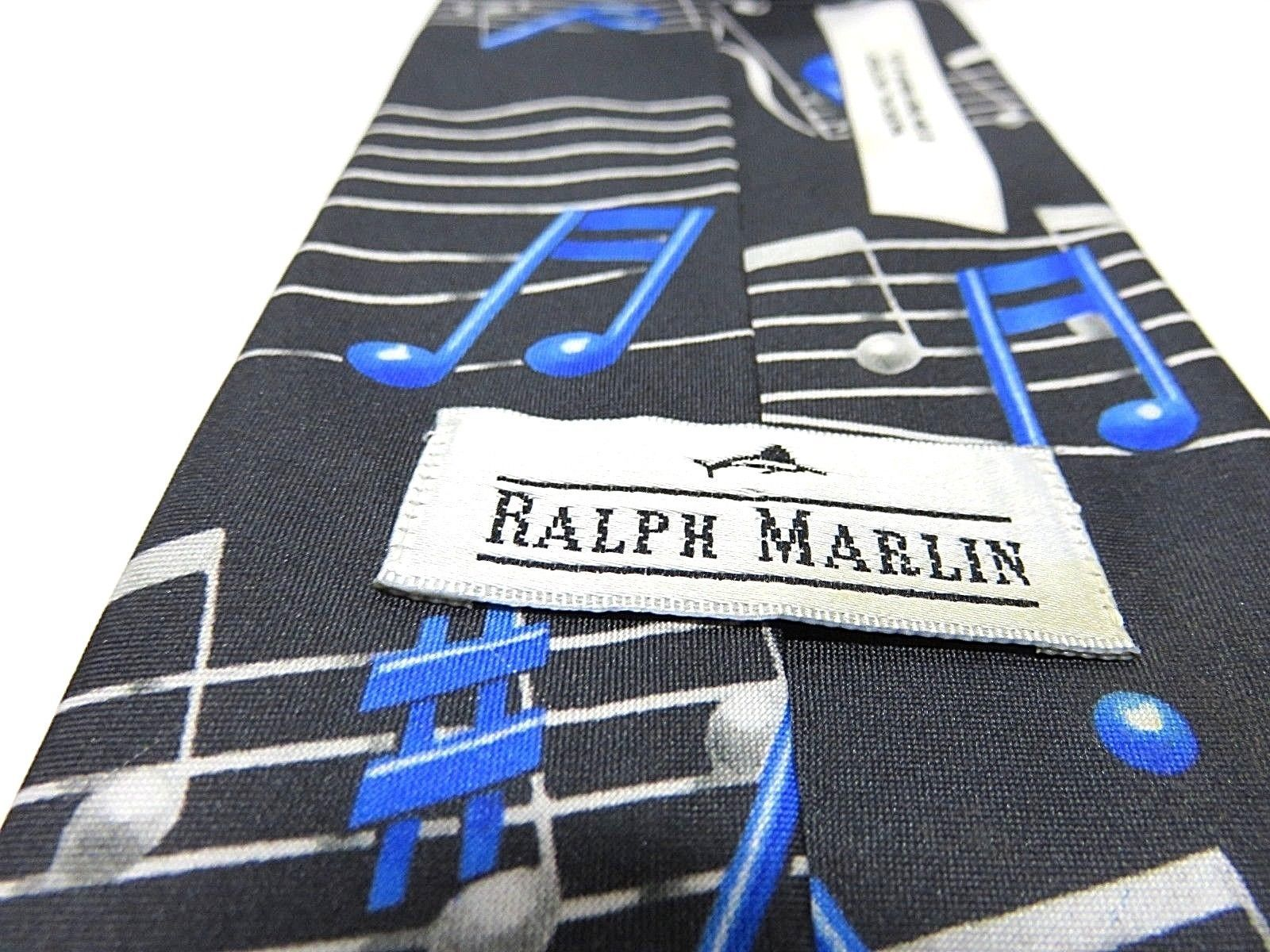 "1994 Ralph Marlin ""Musical Notes"" Blue & Black Graphic Neck Tie"