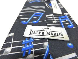 """1994 Ralph Marlin """"Musical Notes"""" Blue & Black Graphic Neck Tie image 5"""