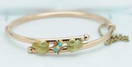 Art Nouveau (ca. 1890) 14K Rose & Yellow Gold Turquoise & Pearl Bracelet... - $835.00