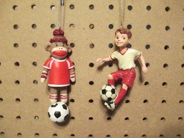 LITTLE SOCCER BOY & SOCCER SOCK MONKEY Ornaments - Set of 2 - $10.00