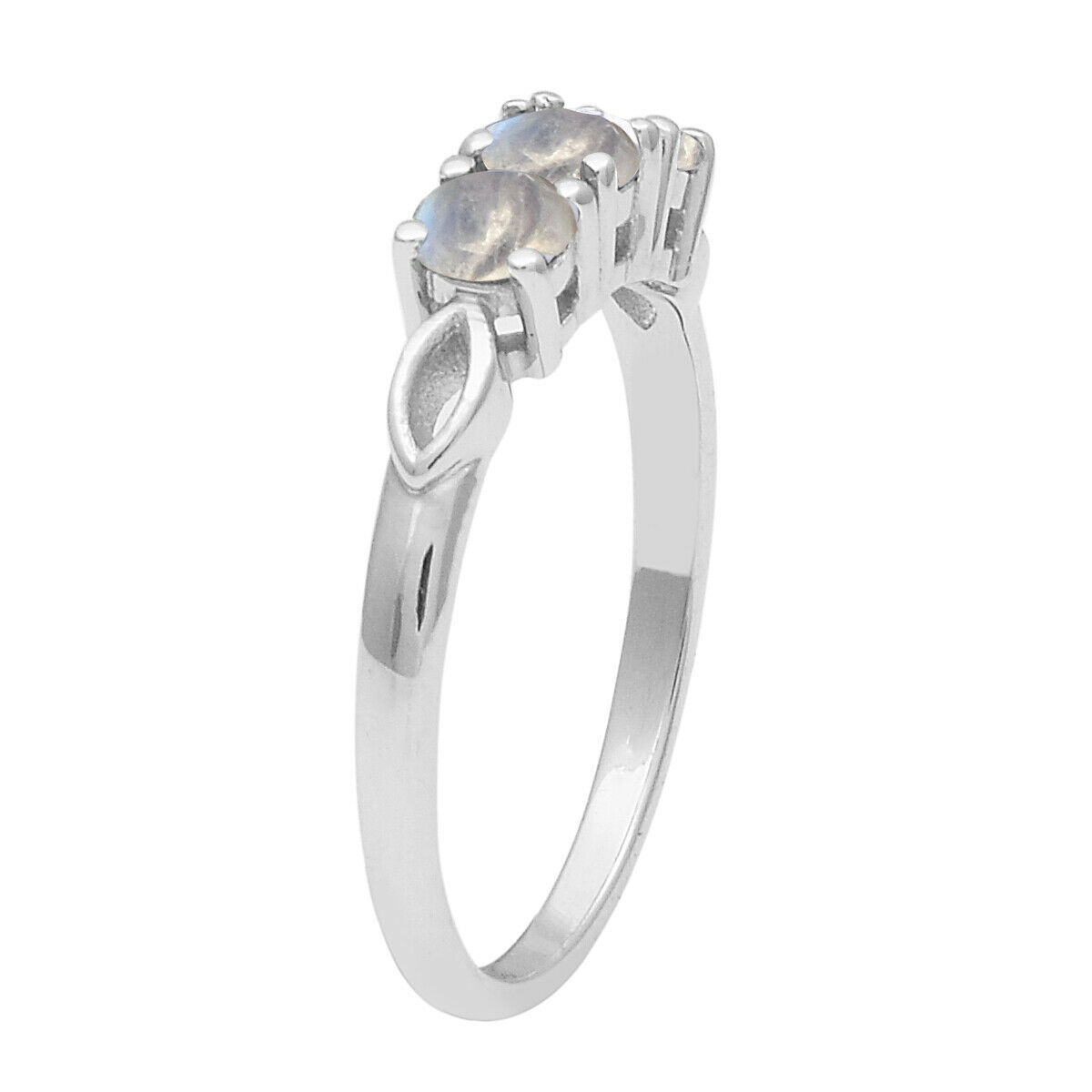 Three Stone Rainbow Moonstone Stacking Band 925 Fine Silver Engagement Ring