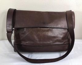 Jack Spade Messenger Bag Brown Leather Briefcase Shoulder Strap Men Work... - $99.99
