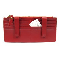 Neiman Marcus Women's ID Wallet Organizer Card Case Saffiano Leather Red - $44.88