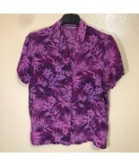 Amanda Smith Silk Floral Button Down Hawaiian Shirt Womens M Summer Vaca... - $29.69