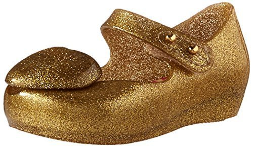 Mini Melissa Girls' Mini Ultragirl Heart ME Ballet Flat, Gold, 9 Medium US Toddl