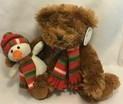 """8.5"""" Sitting Christmas Holiday Teddy Bear Holding Snowman with Striped Scarf - $17.78"""