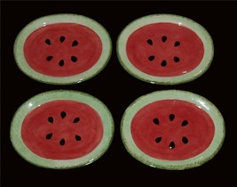 "4 Speckled Sponged Watermelon Heavy Oval 9-1/4"" Snack Plates Unused Unique - $24.99"