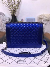 SALE*** Authentic Chanel Boy Metallic Blue Quilted Patent Large Leather Flap Bag