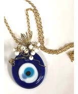 Evil eye good luck charm wire wrapped necklace blue and white lucky char... - $12.99