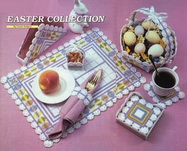 Plastic Canvas Easter Egg Placemat Doorknob Baskets Coaster Napkin Ring Patterns - $9.99