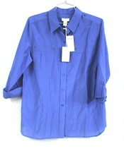 CHICOS 1 / M  Utility Ease Lisa Blouse Popover Shirt New $79 Aegean Blue... - $32.50