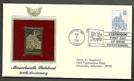 22 kt Golden Replica of US Stamp 1988 FDC Massachusetts Statehood - $2.27