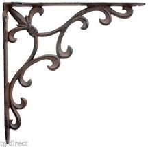 Ornate Fleur De Lis Wall Shelf Bracket Cast Iron Brace - $16.40